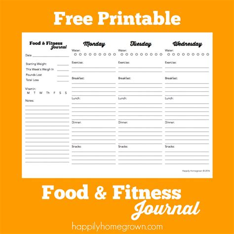 printable food journal weight loss free printable food fitness journal best of happily