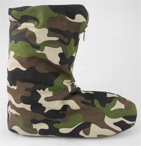 camo boot slippers small boys green camouflage fleece lined boot