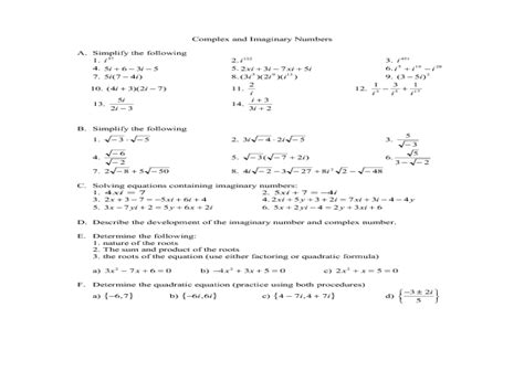 Multiplying Complex Numbers Worksheet by Multiplying Complex Numbers Worksheet Deployday