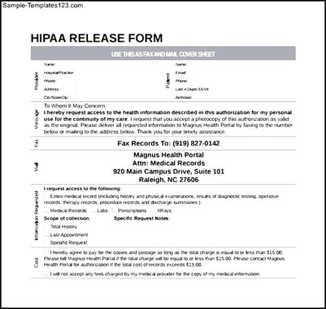 Hipaa Release Form Template simple hipaa release form sle templates