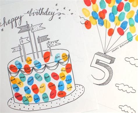 Birthday Paper Crafts - finger printable birthday cards allfreepapercrafts