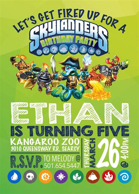 skylander birthday card template skylanders birthday invitation skylanders by emryprints