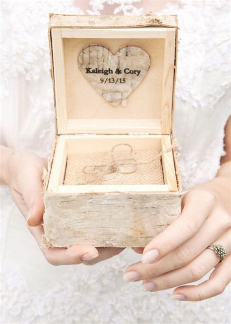 birch bark wood wedding ring bearer box rustic wooden