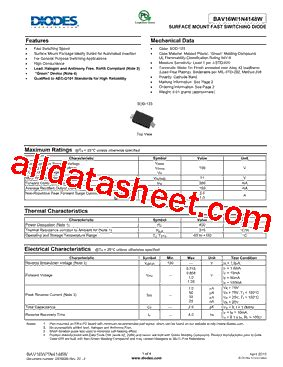 diodes incorporated 1n4148w 7 f 1n4148w 7 f 데이터시트 pdf diodes incorporated