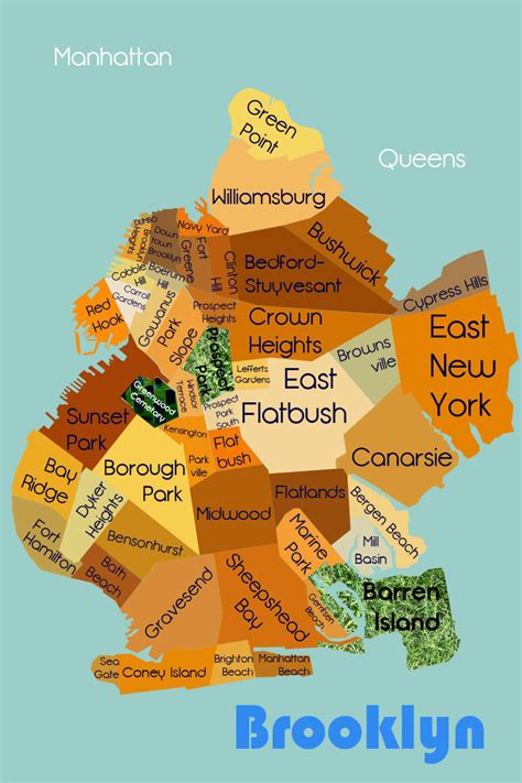 sections of brooklyn items similar to brooklyn neighborhoods map illustration