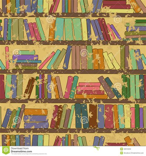 pattern of library vintage seamless pattern of bookshelf with books stock