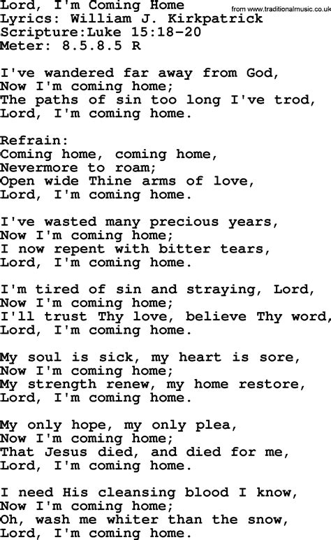hymns lord i m coming home lyrics