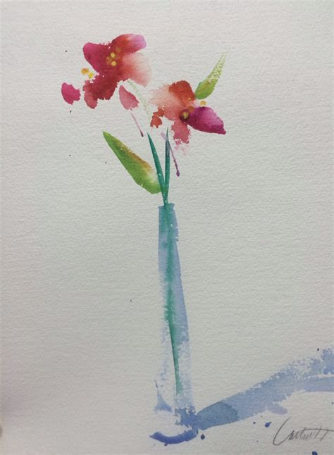 watercolor painting simple flowers watercolor painting