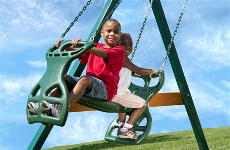 person swinging 2 person swing set glider for kids kid s creations