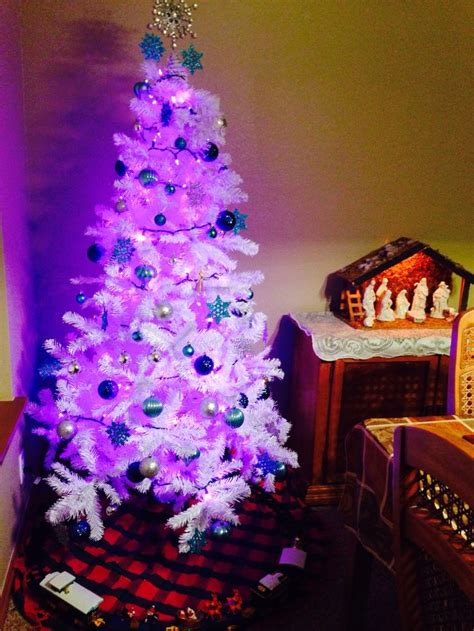 white tree purple lights what s a christmas gram i