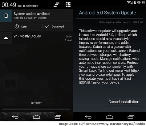 ota android android 5 0 lollipop ota update rollout begins for nexus 4 technology news