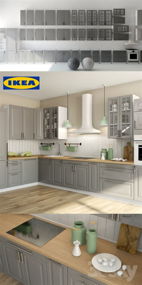 Gray Kitchens With White Cabinets 3d Models Kitchen Liding 214 Ikea Ikea Bodbyn