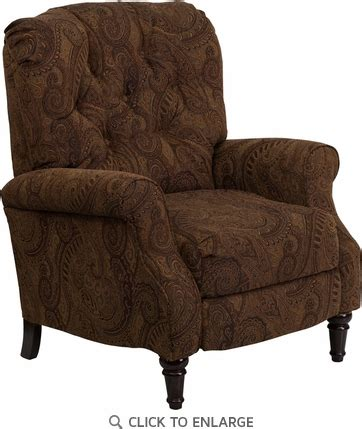 black and white paisley chair traditional tobacco fabric tufted recliner with brown and