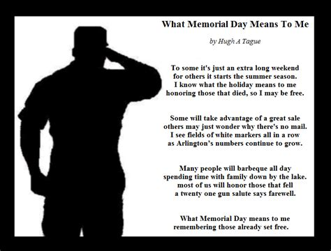 what memorial day means to me hugh a tague s poetry prose