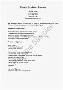 resume samples horse trainer resume sample