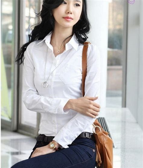 Baju Kantor Blouse White Cklass Size M s sleeve office tops formal work shirts s white business blouses fashion