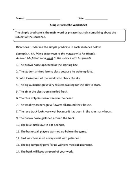Predicate Nominative Worksheet by 17 Best Images Of Compound Predicate Worksheets