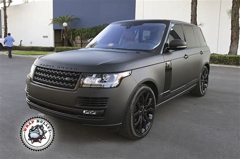 black land rover matte black range rover car wrap wrap bullys