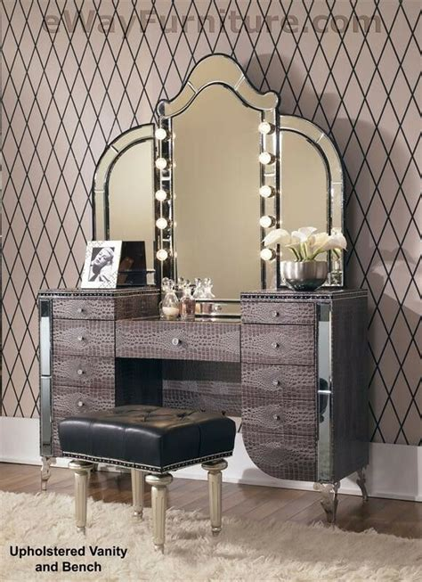 upholstered vanity mirror bench crystal accents hollywood bedroom furniture ebay