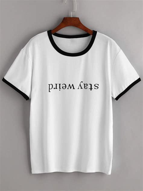 Contrast Trim Lettering T Shirt contrast trim letter print