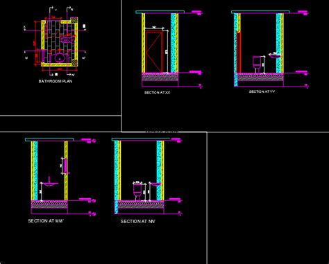 bath design dwg section autocad designs cad