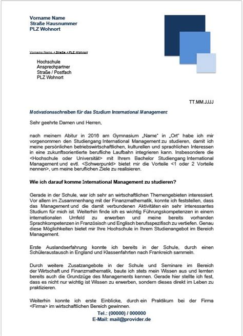 Bewerbung Studium Uni Leipzig Motivationsschreiben International Management Bachelor