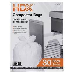 size standard kitchen compactor trash bag 4 flap tie
