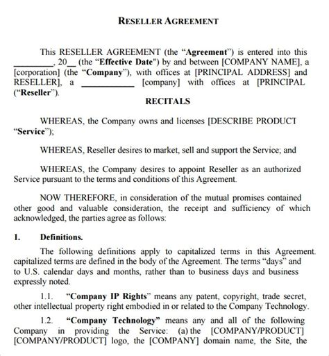 sample  reseller agreement templates