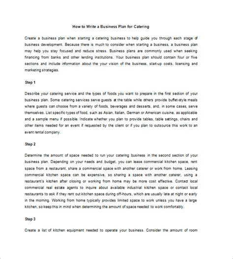 template for writing a business plan catering business plan template 13 free word excel
