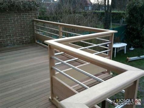 x step terrasse terrasse bois sur pilotis avec garde corps bois et inox
