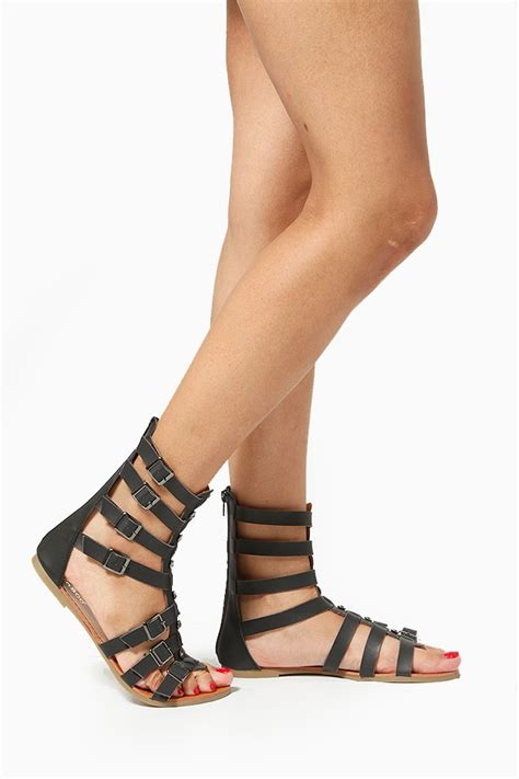 Sandal Strapy bamboo embellished buckled strappy sandals cicihot