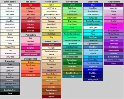 colour shades with names colour names inspiration pattern pinterest names