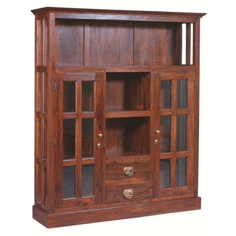 Two Drawer 2 Glass Door Solid Mahogany Display Cabinet Mahogany Display Cabinets With Glass Doors