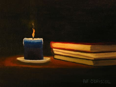 painting in the books pat o driscoll still candle and books