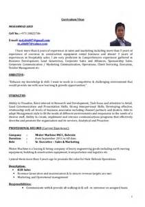 Sle Of A Cv Resume by Cv Sr Executive Sales Marketing