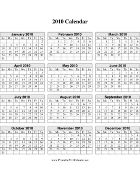 2010 calendar template 2010 calendar on one page vertical grid calendar