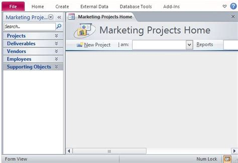 Desktop Marketing Project Management Database Template For Access Ms Access Project Management Template