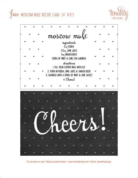 cocktail recipe card template free moscow mule gift basket free recipe card