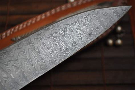 Handcrafted Chef Knives - handcrafted damascus chef knife root wood mosaic pin