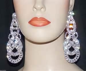 Gold Chandelier Earrings For Wedding Bridal Silver Clear Rhinestone Dangle Chandelier Clip