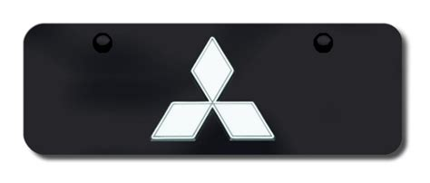 mitsubishi logo black mitsubishi chrome logo on black license plates vanity