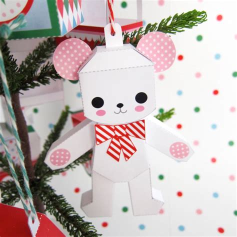 printable paper christmas decorations teddy jack in box rocking horse ornaments printable