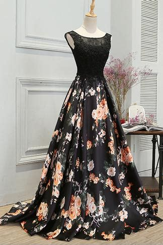 stylish   long floral printed prom dressformal