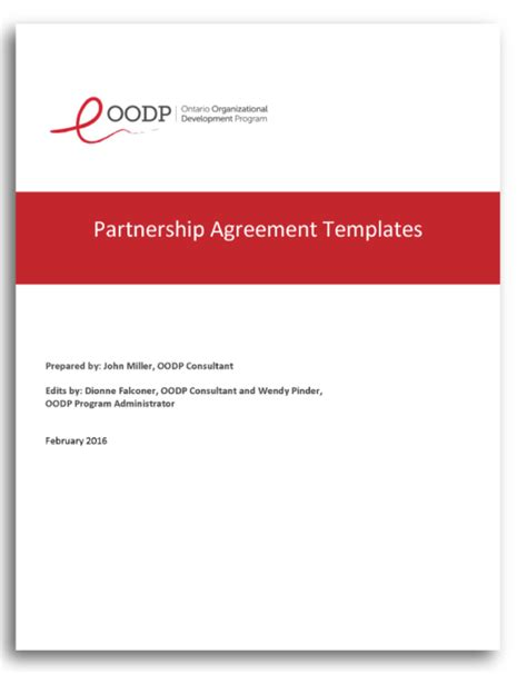 partnership agreement ontario template choice image