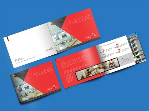 leaflet design psd download landscape brochure mockup psd at downloadmockup