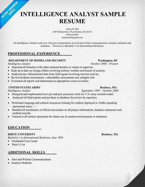 Army Intelligence Analyst Cover Letter by Intelligence Analyst Resume Resume Template 2017