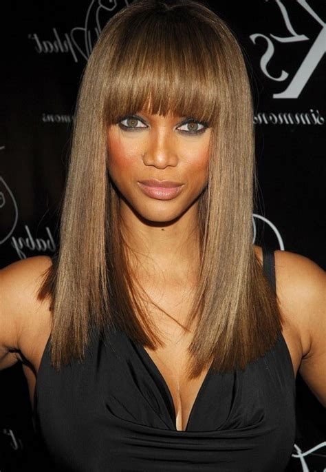 tyra banks with fringe bangs short hairstyle 2013 tyra banks long hairstyle straight hairstyle with blunt