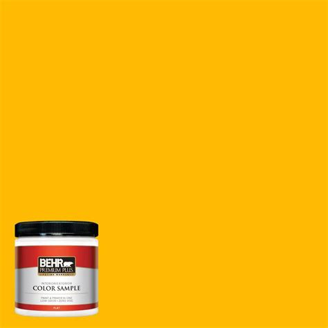 behr premium plus 8 oz 370a 3 bicycle yellow interior exterior paint sle 370a 3pp the