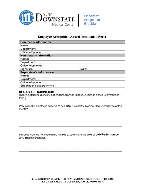 employee nomination forms  word