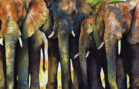 elephant herd painting by paul dene marlor
